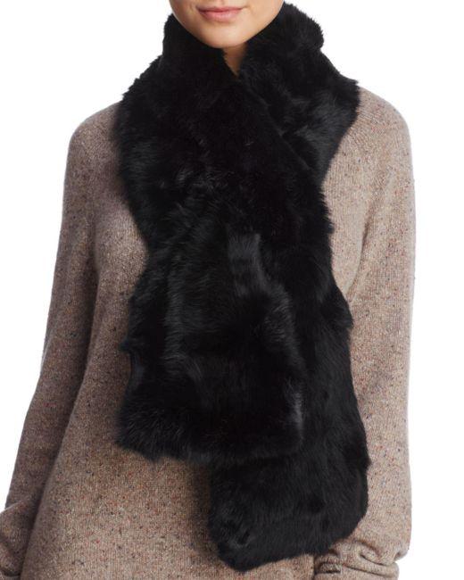 Surell Black Pieced Rabbit Fur Scarf