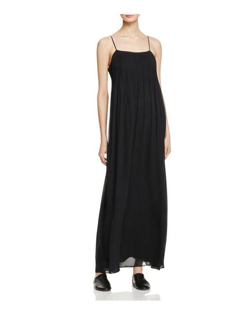 Vince | Black Pintuck Silk Maxi Dress | Lyst
