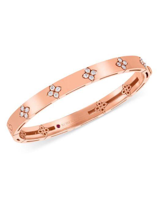 Roberto Coin Pink 18k Rose Gold Love In Verona Diamond Bangle Bracelet