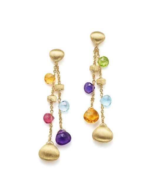 Marco Bicego - Metallic 18k Yellow Gold Paradise Gemstone Teardrop Double Strand Earrings - Lyst