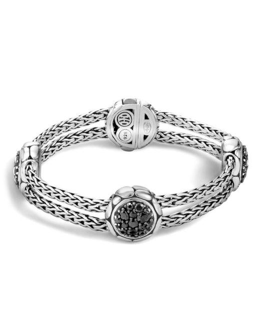 John Hardy - Metallic Kali Sterling Silver Pure Lava Fire Four Station Bracelet With Black Sapphire - Lyst