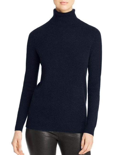 C By Bloomingdale's Blue Cashmere Turtleneck Sweater