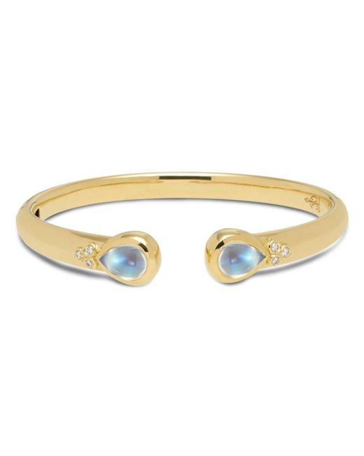 Temple St. Clair - 18k Yellow Gold Classic Hinge Bracelet With Royal Blue Moonstone And Diamonds - Lyst