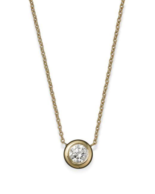 Roberto Coin 18k Yellow Gold Diamond Bezel Pendant Necklace