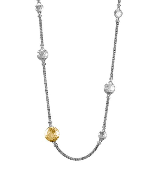 "John Hardy - Metallic Sterling Silver And 18k Gold Palu Station Sautoir Necklace, 36"" - Lyst"