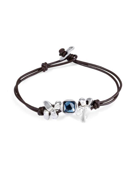 Uno De 50 | Blue Leather Thingy Bracelet | Lyst