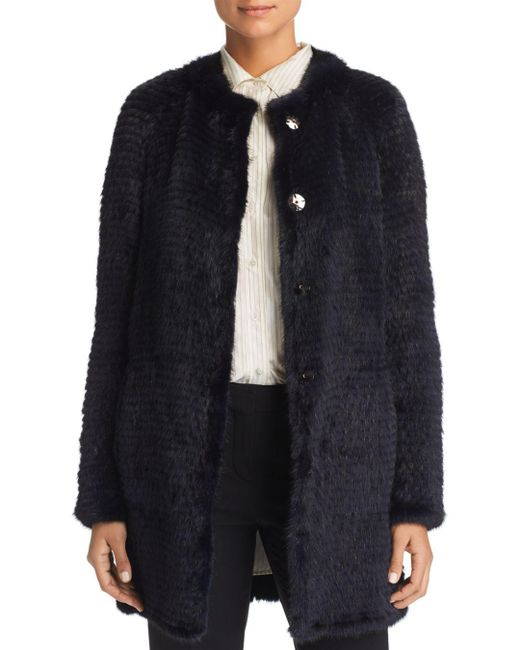 Maximilian - Blue Reversible Mink & Rabbit Fur Coat - Lyst