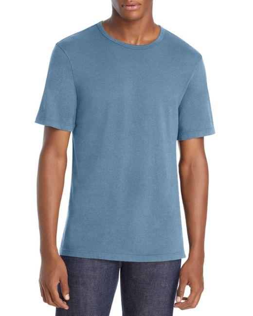 Vince Blue Garment Dyed Crewneck Tee for men