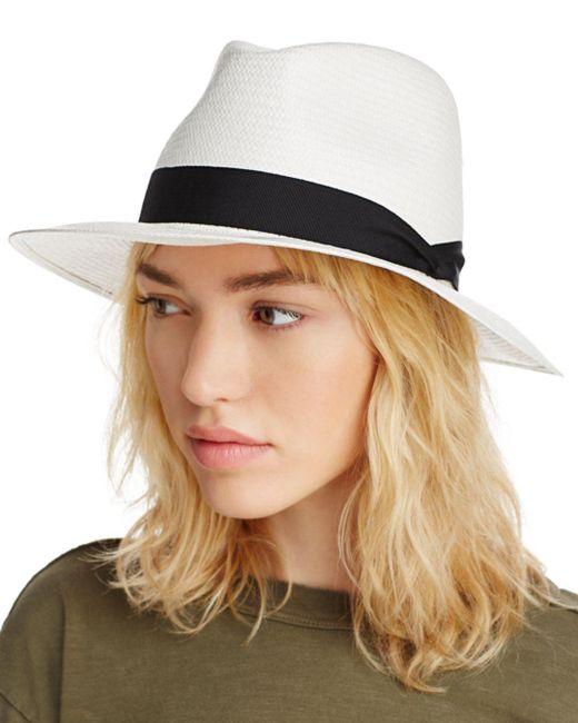 Rag & Bone White Panama Wide Brim Hat