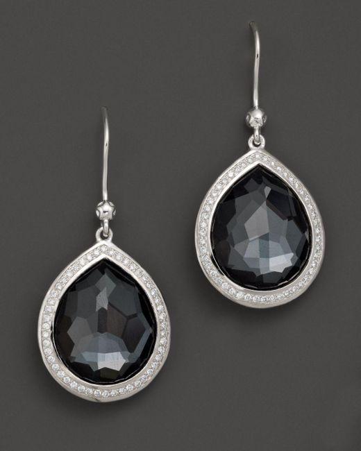 Ippolita - Multicolor Sterling Silver Stella Earrings In Hematite Doublet With Diamonds - Lyst