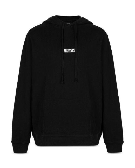 AllSaints Black Opposition Cotton Logo Print Relaxed Fit Hoodie for men