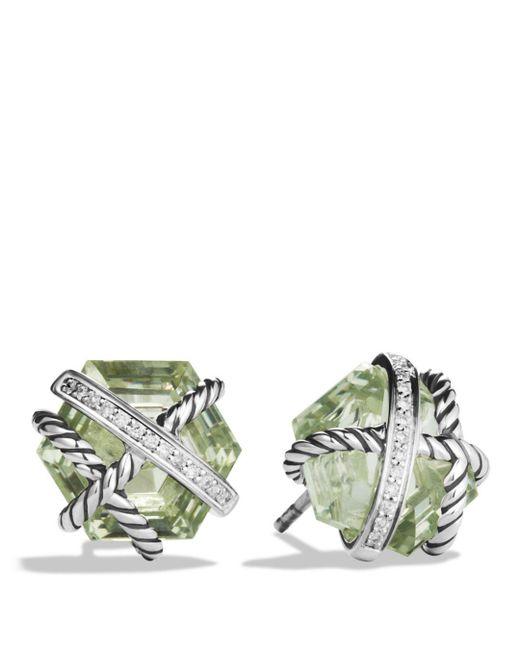 David Yurman - Metallic Cable Wrap Earrings With Prasiolite And Diamonds - Lyst