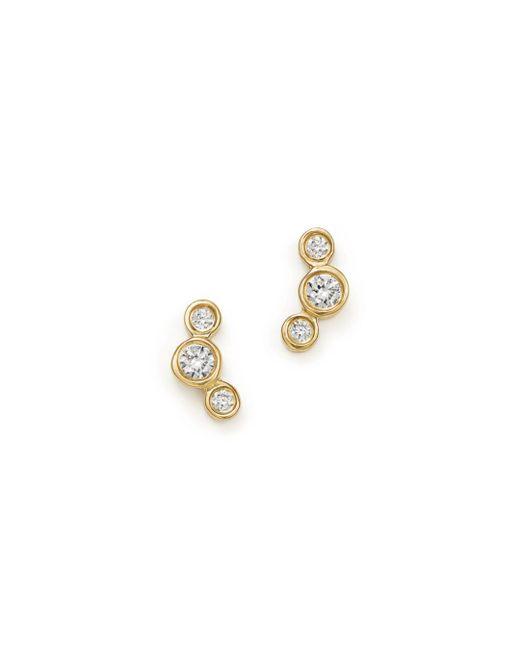 Zoe Chicco - Metallic 14k Yellow Gold Small Triple Graduated Diamond Curved Bezel Stud Earrings - Lyst