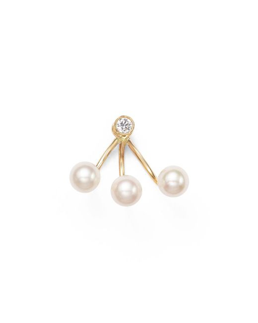 Zoe Chicco - Metallic 14k Yellow Gold And Diamond Stud Earring With Cultured Freshwater Pearl Ear Jacket - Lyst