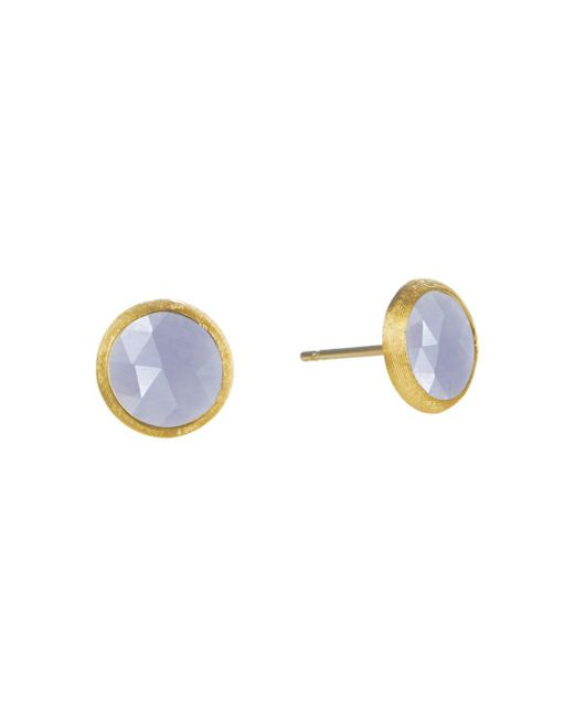 Marco Bicego Metallic 18k Yellow Gold Engraved Jaipur Stud Earrings With Chalcedony