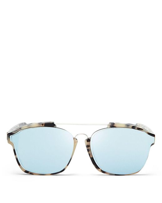 Dior Blue Women's Abstract Square Mirrored Sunglasses