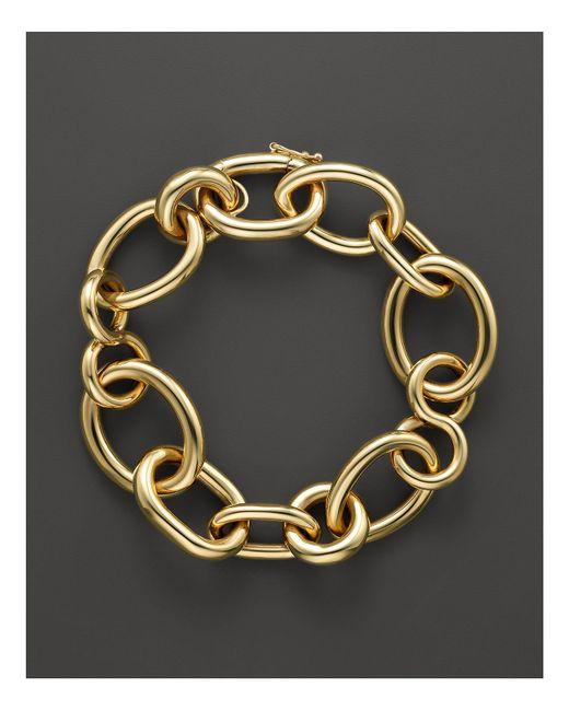 Roberto Coin   Metallic 18k Yellow Gold Alternating Shape Link Bracelet   Lyst