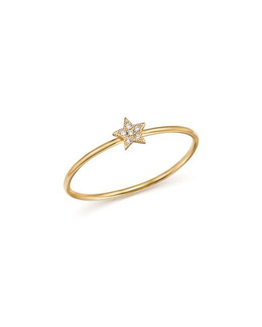 Zoe Chicco | Metallic 14k Yellow Gold Itty Bitty Diamond Star Ring | Lyst