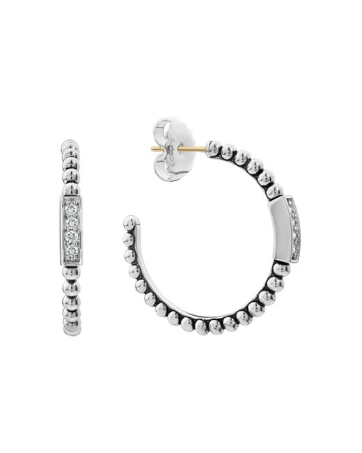 Lagos Metallic Sterling Silver Caviar Spark Diamond Hoop Earrings