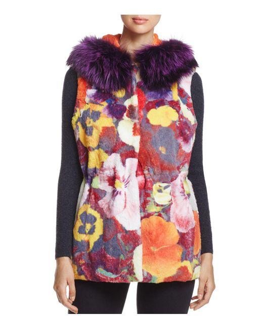 Maximilian | Multicolor Reversible Floral Rabbit Fur Vest | Lyst