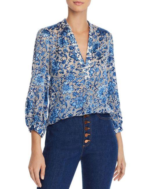 9baad383ec Alice + Olivia - Blue Alice + Olivia Sheila Blouson-sleeve Floral Top - Lyst  ...