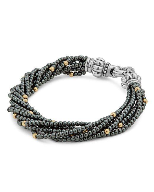 Lagos - Metallic 18k Gold And Sterling Silver Caviar Icon Hematite Beaded Multi Strand Bracelet - Lyst