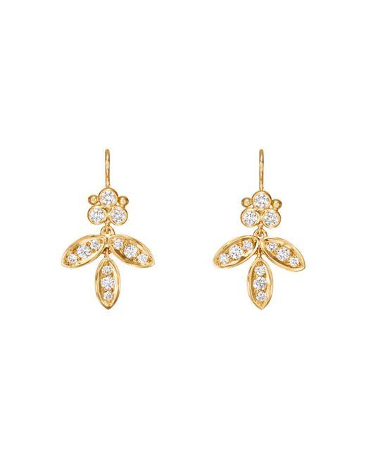 Temple St. Clair Metallic 18k Yellow Gold Foglia Diamond Drop Earrings