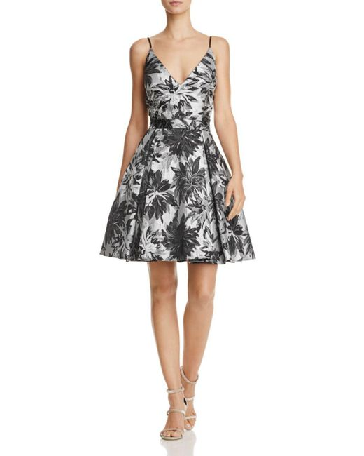Aqua - Black Jacquard Fit-and-flare Dress - Lyst