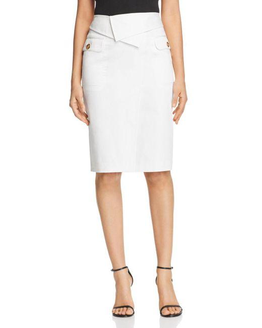 Badgley Mischka - White Foldover Waist Pencil Skirt - Lyst