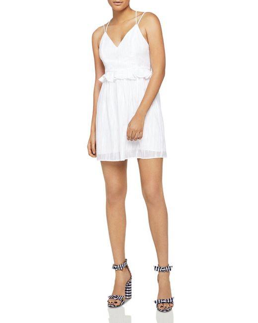 BCBGeneration - White Crisscross Peplum Dress - Lyst