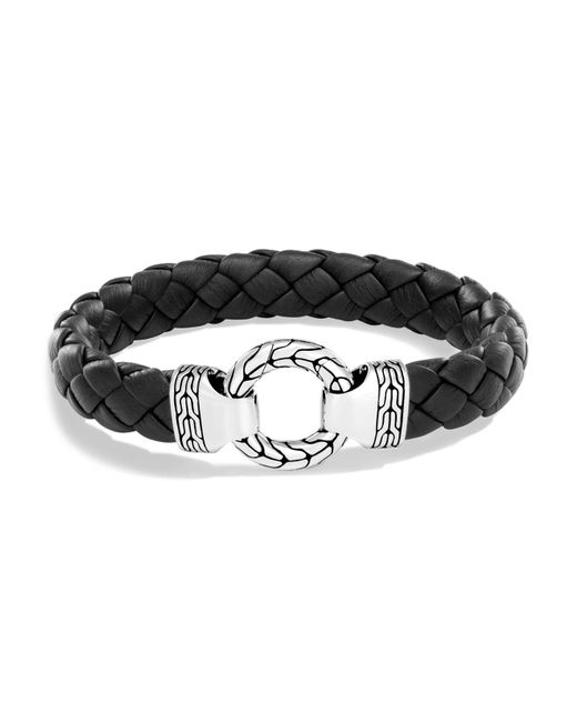 John Hardy | Metallic Men's Sterling Silver Classic Chain Ring Bracelet With Braided Black Leather | Lyst