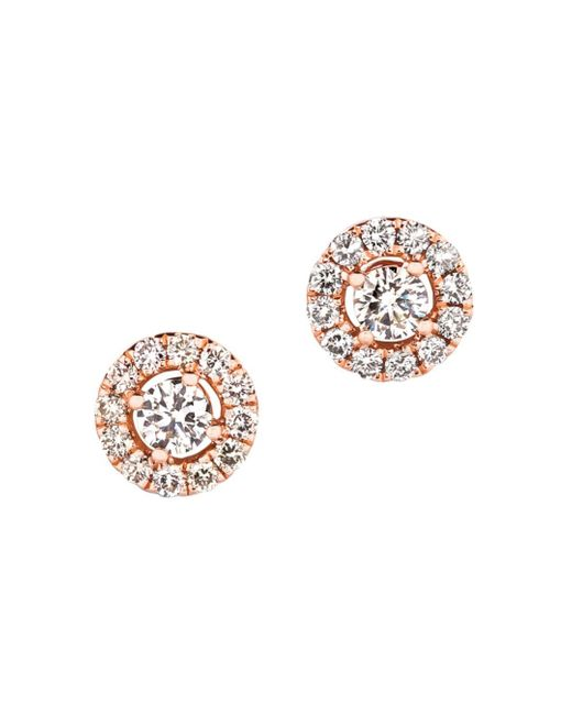 Bloomingdale's Metallic Champagne Diamond Halo Stud Earrings In 14k Rose Gold
