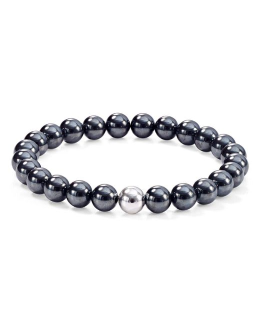 Aqua - Metallic Sterling Silver & Stone Beaded Stretch Bracelet - Lyst