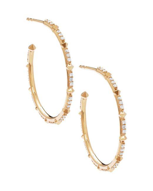 Kendra Scott - Metallic Cybil Diamond Hoop Earrings In 14k Yellow Gold - Lyst