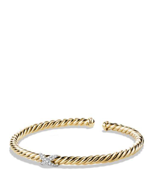 David Yurman Metallic X Bracelet With Diamonds In 18k Gold