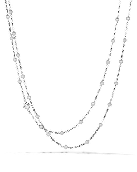 David Yurman - Metallic Chain Necklace With Pearls - Lyst