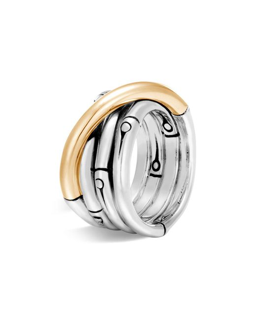 John Hardy | Metallic Brushed 18k Yellow Gold And Sterling Silver Bamboo Ring | Lyst