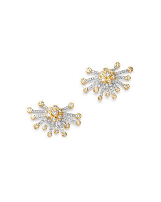Bloomingdale's Metallic Diamond Starburst Stud Earrings In 14k Yellow Gold