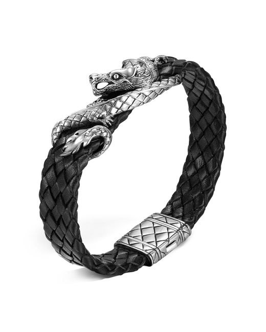 John Hardy - Metallic Men's Naga Sterling Silver Dragon Woven Black Leather Bracelet - Lyst