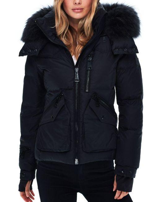 Sam. Black Jetset Fur - Trim Down Coat