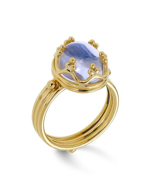 Temple St. Clair - Metallic 18k Gold Crown Ring With Royal Blue Moonstone - Lyst