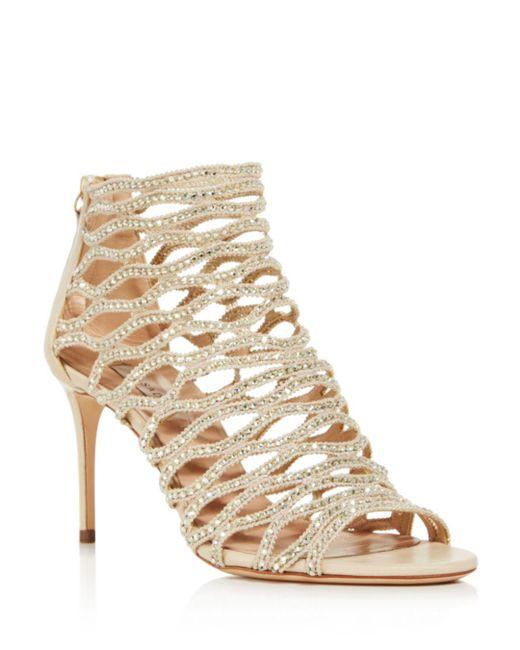 28df7aba5b82 ... Casadei - Natural Women s Cleopatra Swarovski Crystal Embellished  High-heel Cage Sandals ...
