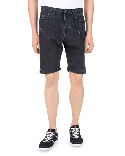 The Kooples - Gray Destroy Denim Shorts for Men - Lyst