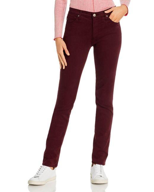 AG Jeans Red Prima Brushed Color Wash Jeans