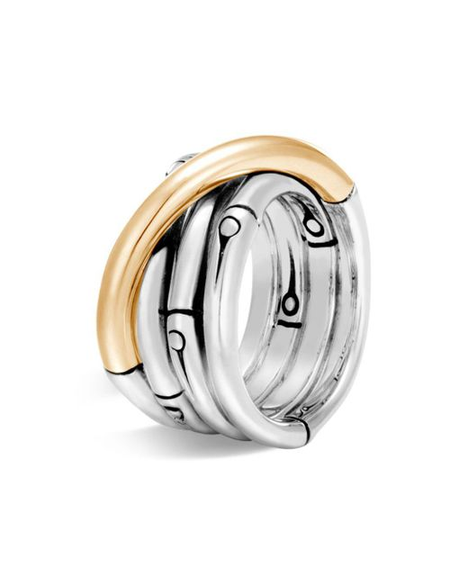 John Hardy - Metallic Brushed 18k Yellow Gold And Sterling Silver Bamboo Ring - Lyst