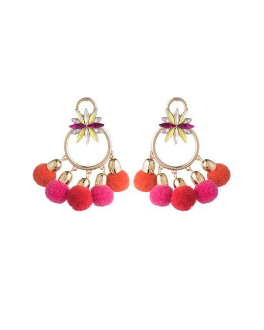 ABS By Allen Schwartz | Pink Pom Pom Chandelier Earrings | Lyst