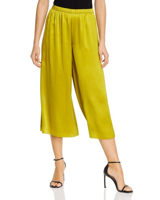 Theory Yellow Fluid Cropped Wide - Leg Pants