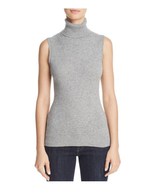 Theory | Gray Sleeveless Cashmere Turtleneck | Lyst