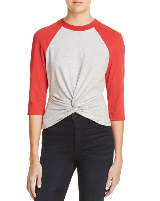 T By Alexander Wang - Red Twist-front Jersey Baseball Tee - Lyst
