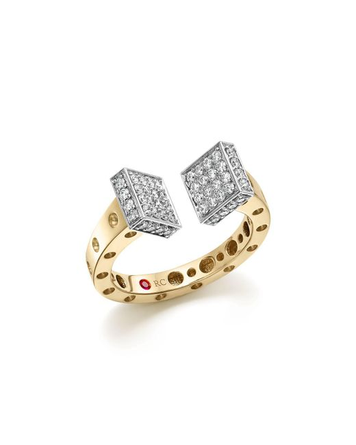Roberto Coin - Metallic 18k White And Yellow Gold Pois Moi Chiodo Ring With Diamonds - Lyst